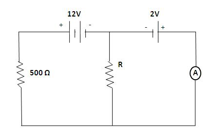 Int he circuit shown below, the ammeter reading is zero