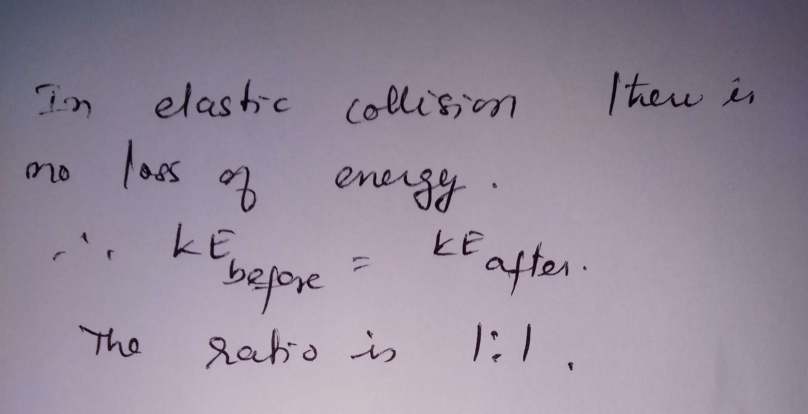 The ratio of kinetic energy before and after elastic