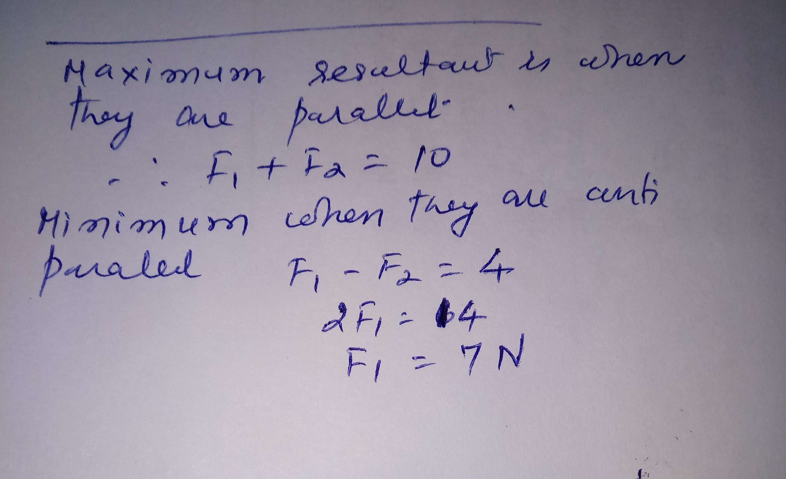 The maximum resultant of two concurrent forces is 10N and