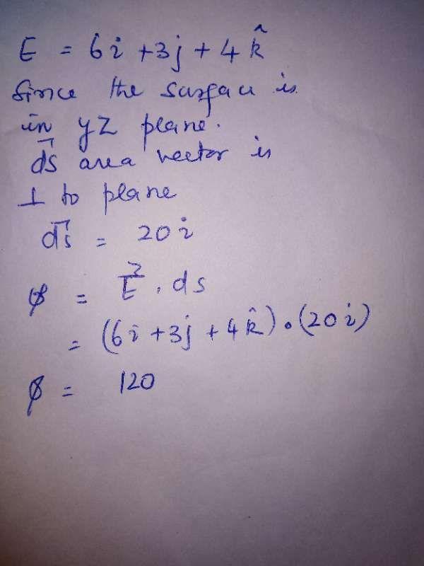 if vector E=6i+3j+4k calculate electric flux through a