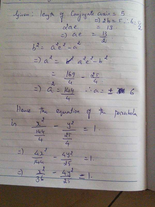 Find The Equation Of The Hyperbola Whose Transverse And Conjugate