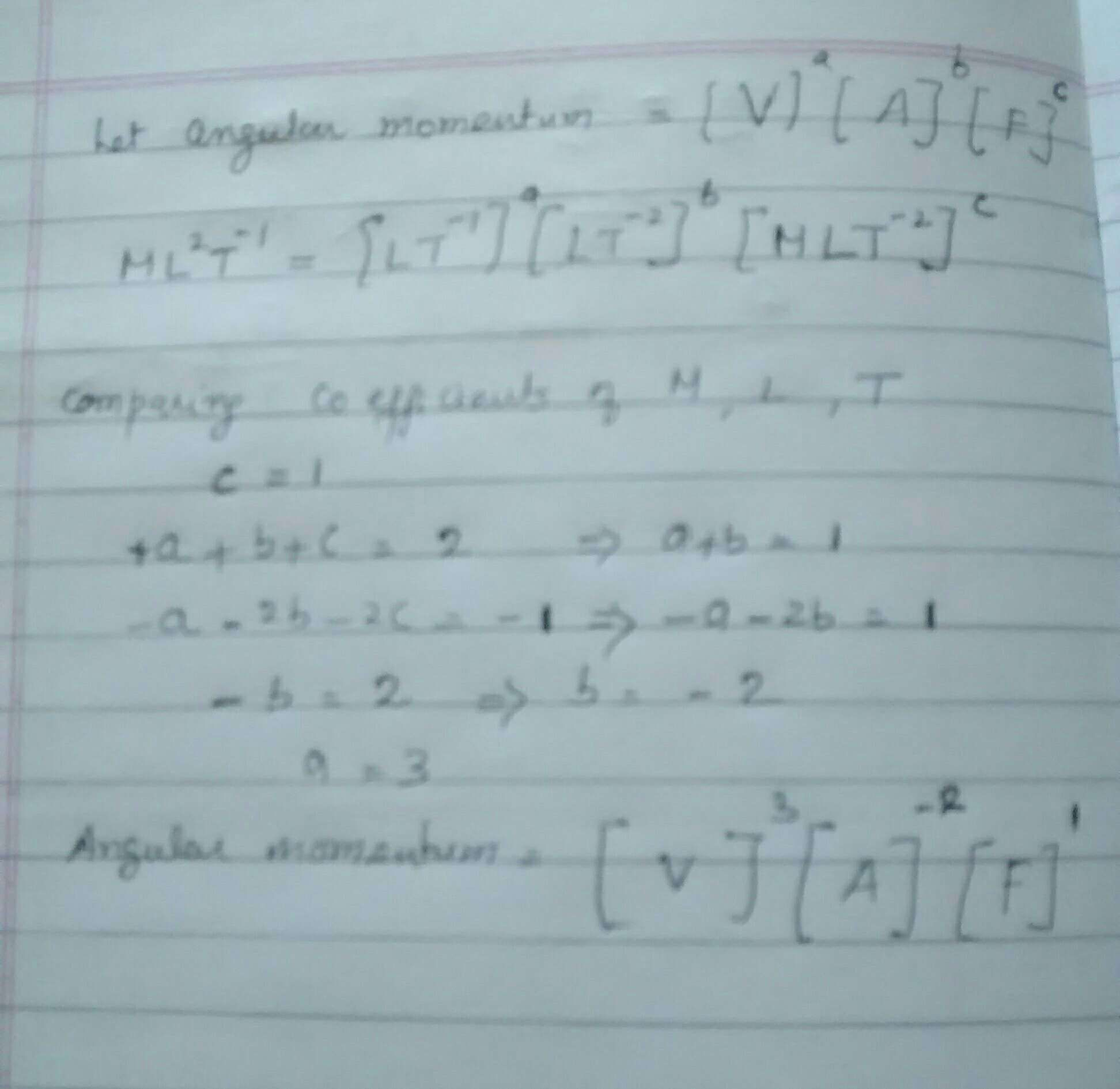 If we choose velocity V, acceleration A and force F as the