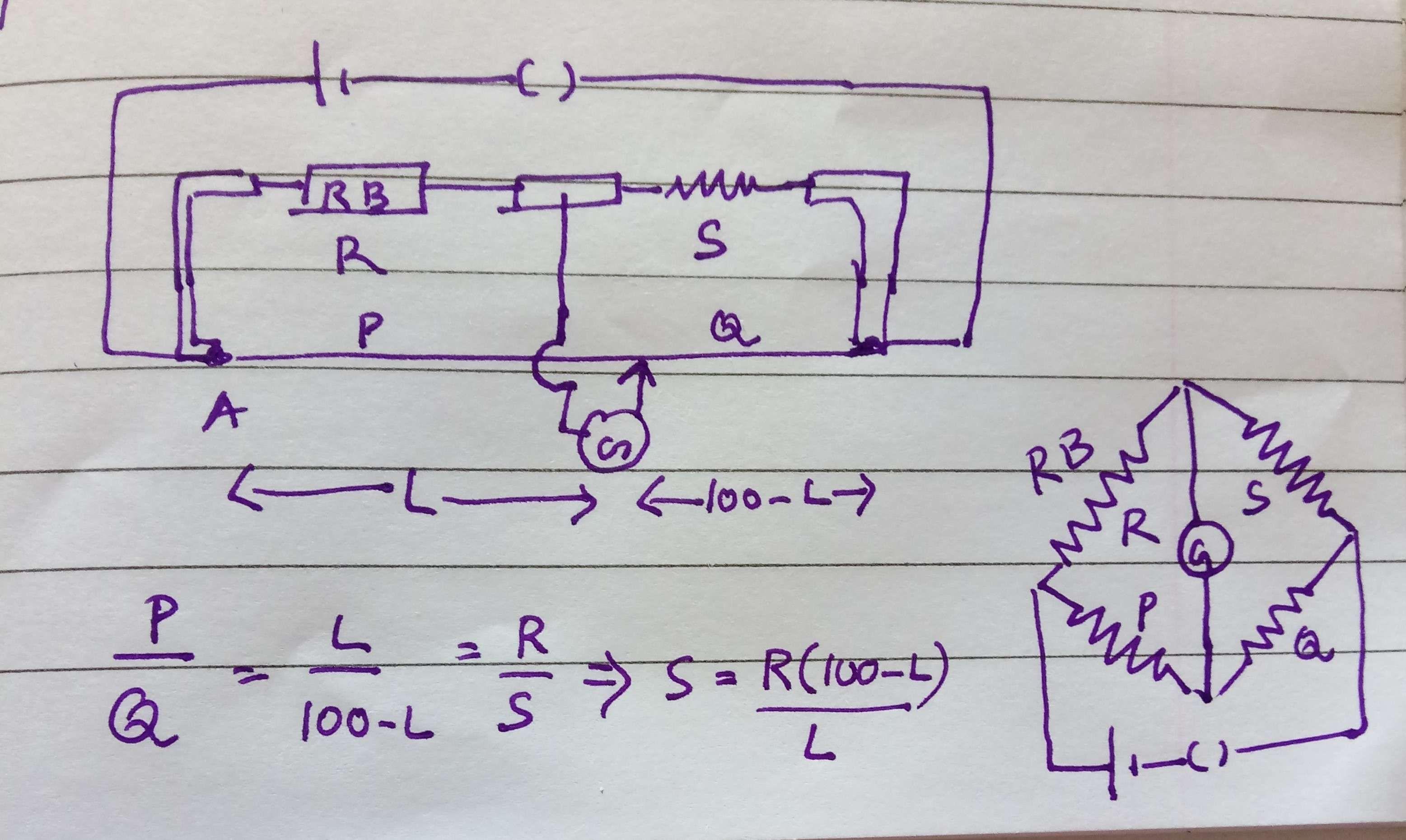 in a metre bridge experiment student observe a balance point j where ...