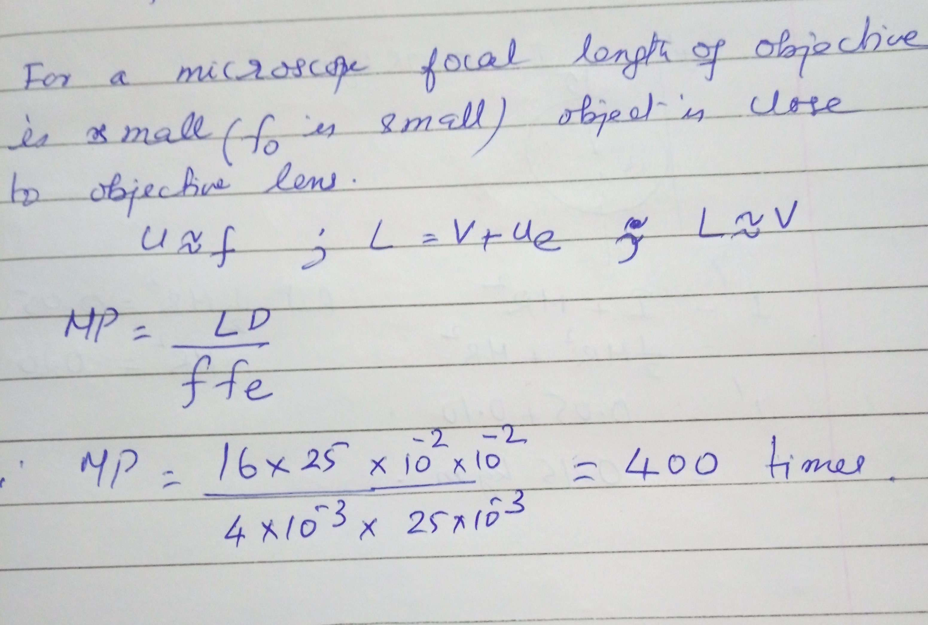 The focal length of the objective and the eyepiece of a