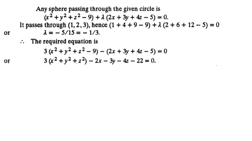Find The Equation Of The Sphere Through The Circle X2 Y2z2 9