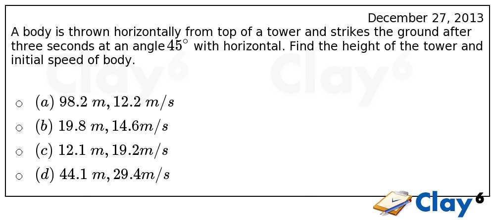http://clay6.com/qa/11057/a-body-is-thrown-horizontally-from-top-of-a-tower-and-strikes-the-ground-af