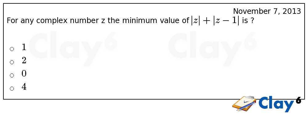 http://clay6.com/qa/11078/for-any-complex-number-z-the-minimum-value-of-z-z-1-is-