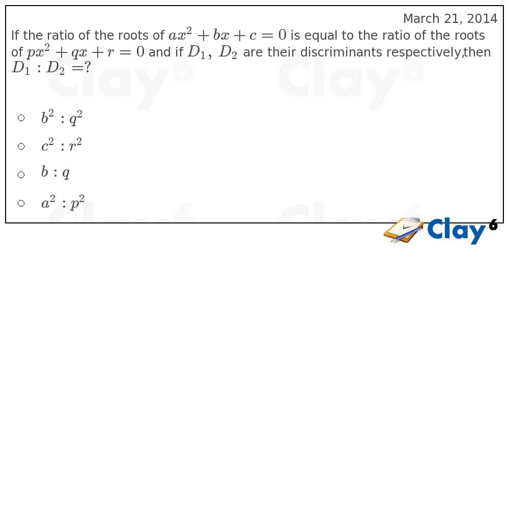 http://clay6.com/qa/11456/if-the-ratio-of-the-roots-of-ax-2-bx-c-0-is-equal-to-the-ratio-of-the-roots