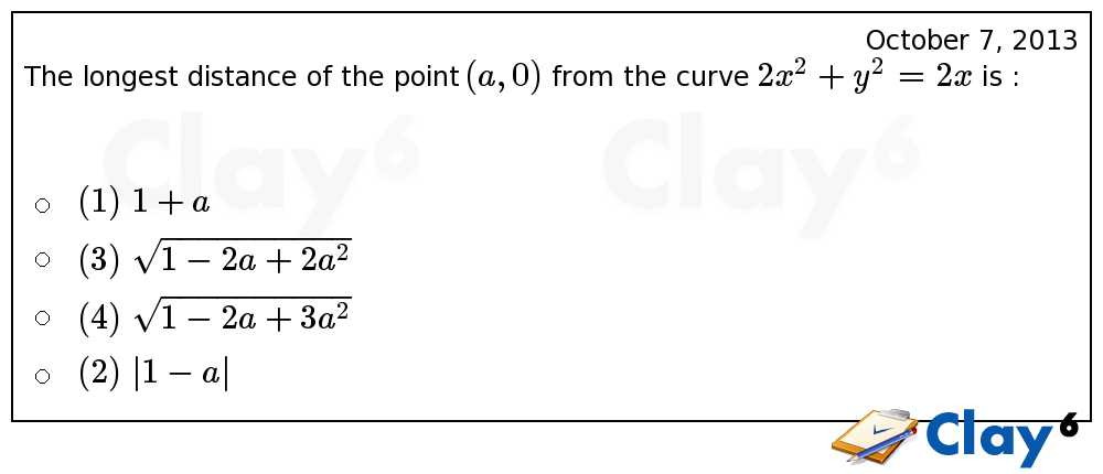 http://clay6.com/qa/13927/the-longest-distance-of-the-point-a-0-from-the-curve-2x-2-y-2-2x-is-