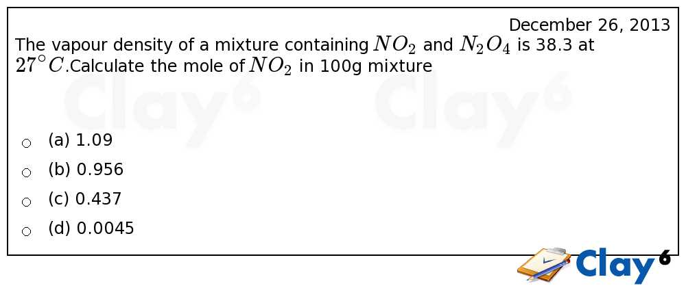 http://clay6.com/qa/15780/the-vapour-density-of-a-mixture-containing-no-2-and-n-2o-4-is-38-3-at-27-c-