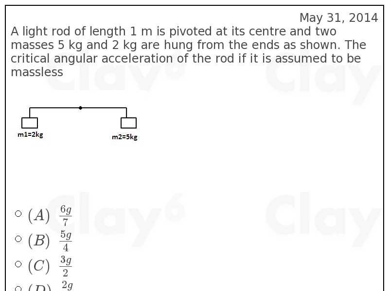 http://clay6.com/qa/18981/a-light-rod-of-length-1-m-is-pivoted-at-its-centre-and-two-masses-5-kg-and-