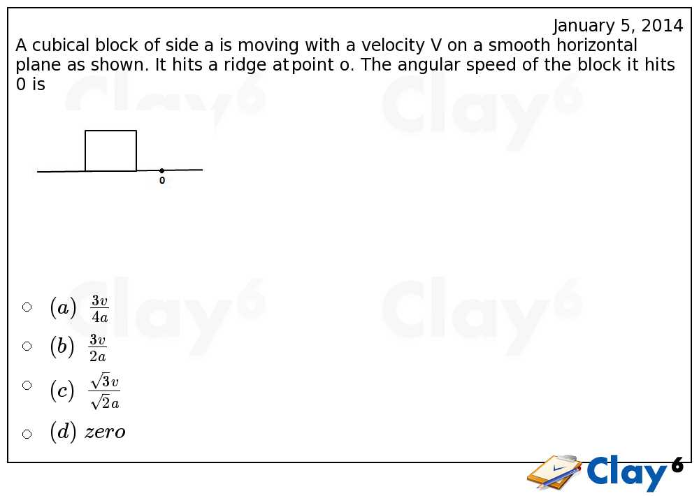 http://clay6.com/qa/19697/a-cubical-block-of-side-a-is-moving-with-a-velocity-v-on-a-smooth-horizonta