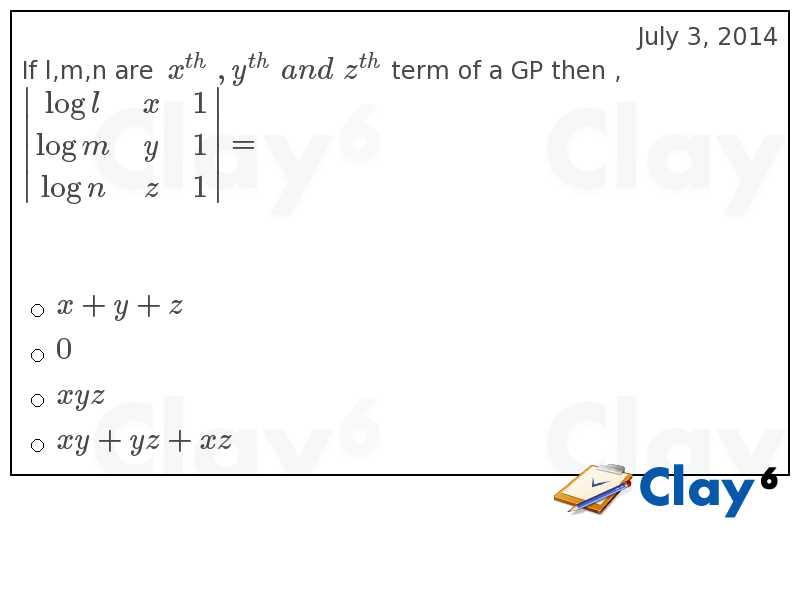 http://clay6.com/qa/24456/if-l-m-n-are-x-y-and-z-term-of-a-gp-then-begin-log-l-x-1-log-m-y-1-log-n-z-
