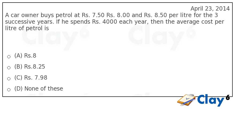 http://clay6.com/qa/25266/a-car-owner-buys-petrol-at-rs-7-50-rs-8-00-and-rs-8-50-per-litre-for-the-3-