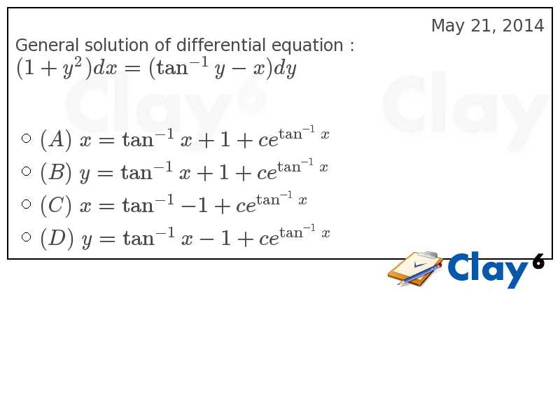http://clay6.com/qa/26628/general-solution-of-differential-equation-1-y-2-dx-tan-y-x-dy
