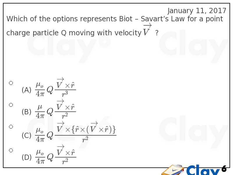 http://clay6.com/qa/28449/which-of-the-options-represents-biot-savart-s-law-for-a-point-charge-partic