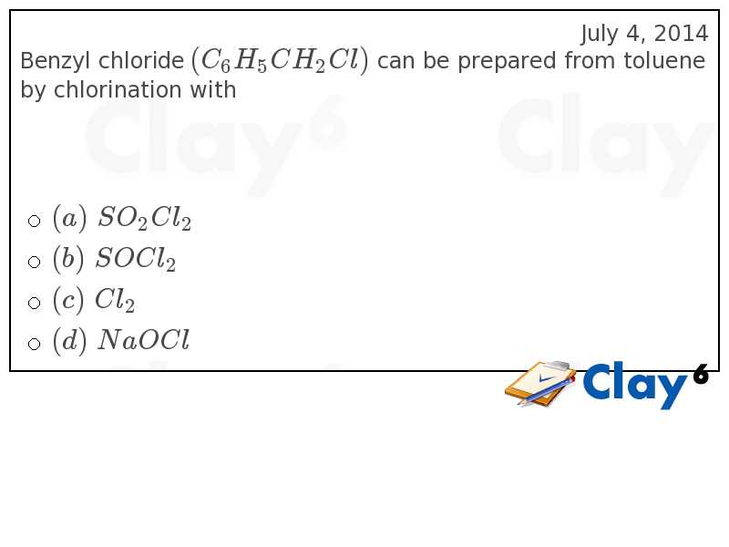 http://clay6.com/qa/33252/benzyl-chloride-c-6h-5ch-2cl-can-be-prepared-from-toluene-by-chlorination-w