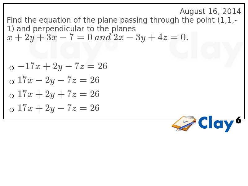 http://clay6.com/qa/4777/find-the-equation-of-the-plane-passing-through-the-point-1-1-1-and-perpendi