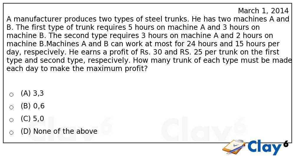 http://clay6.com/qa/4778/a-manufacturer-produces-two-types-of-steel-trunks-he-has-two-machines-a-and
