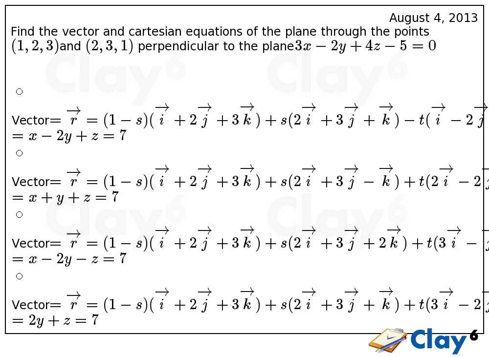 http://clay6.com/qa/7964/find-the-vector-and-cartesian-equations-of-the-plane-through-the-points-1-2